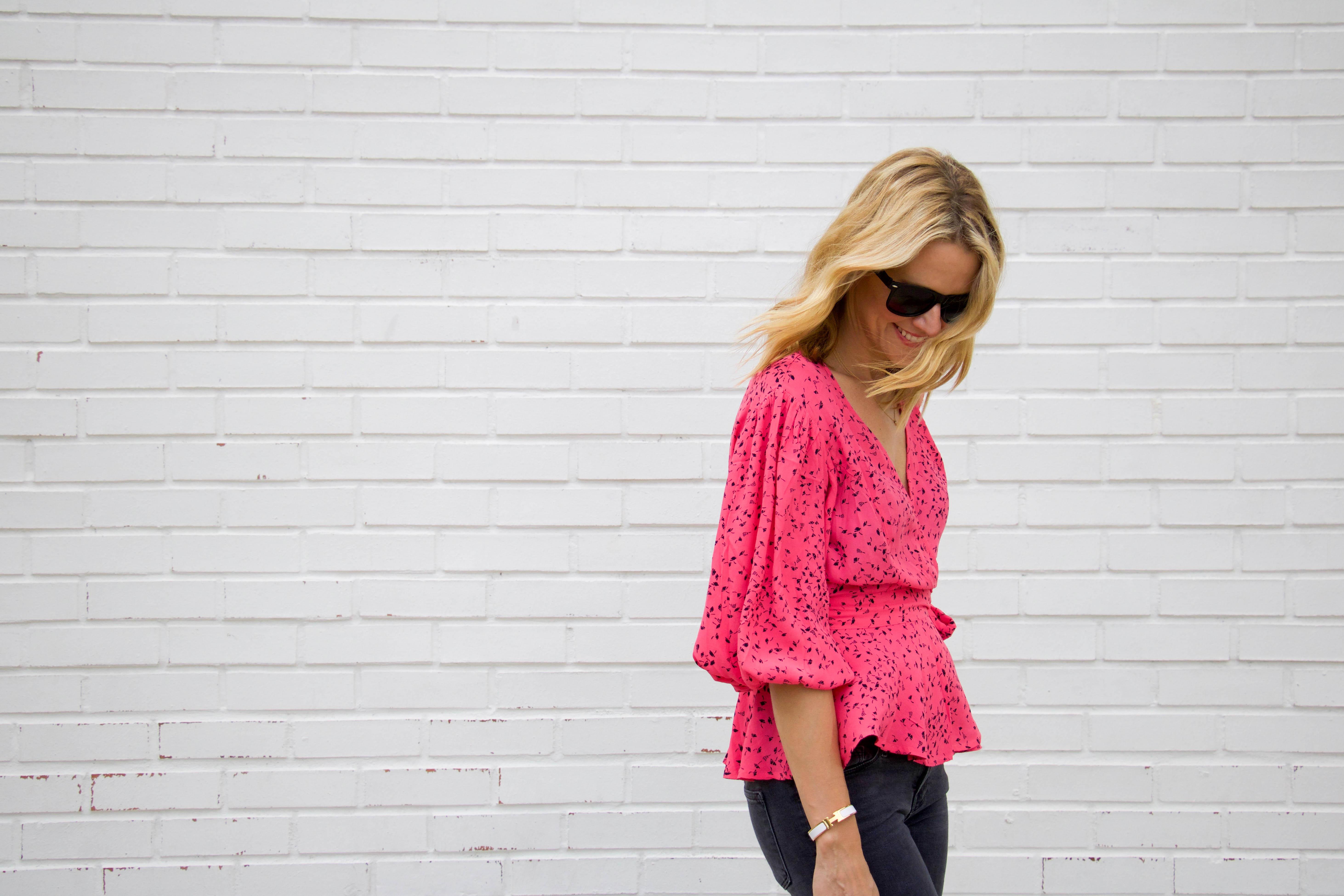 Ganni pink printed top