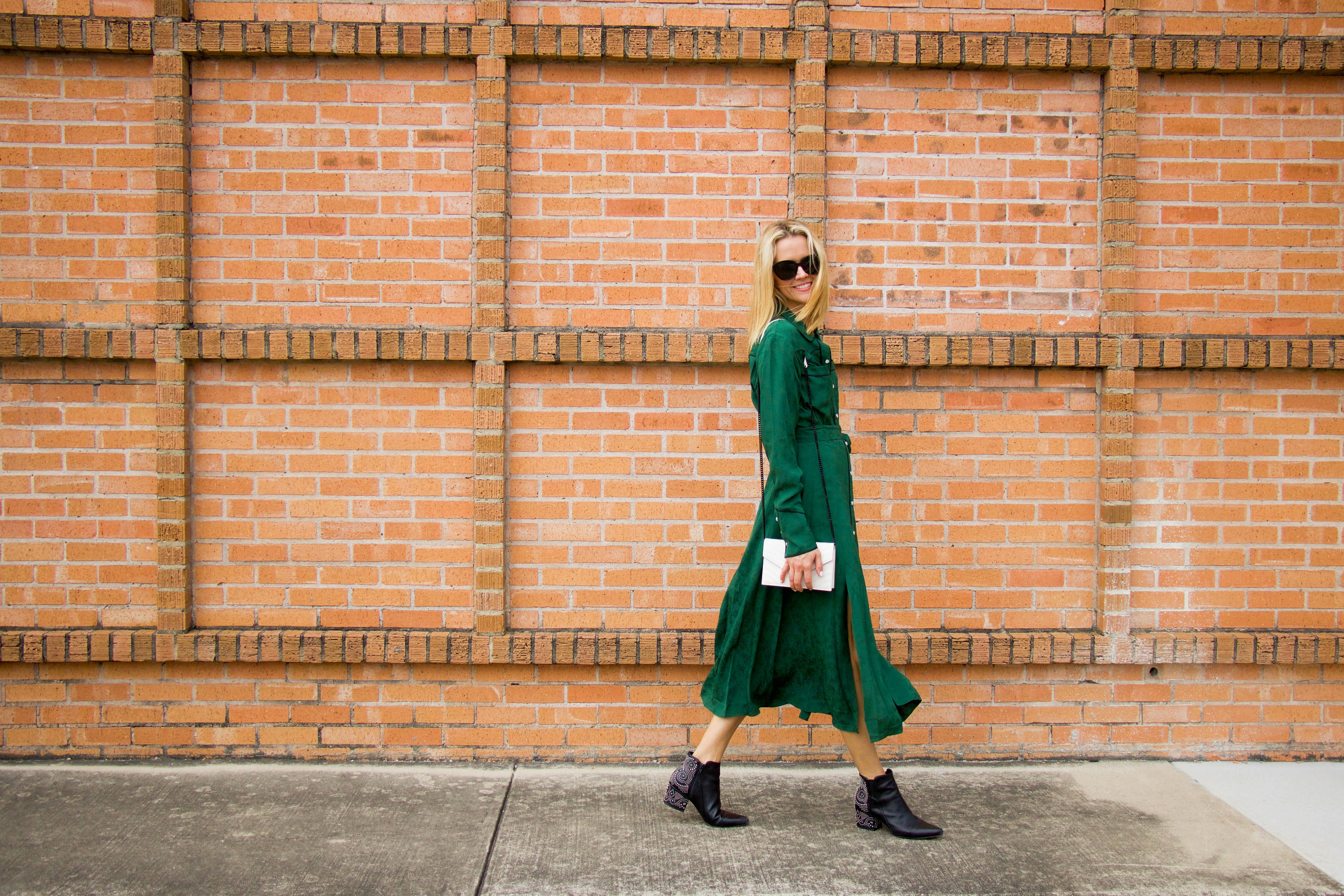 Veronica Beard deep green dress with black booties
