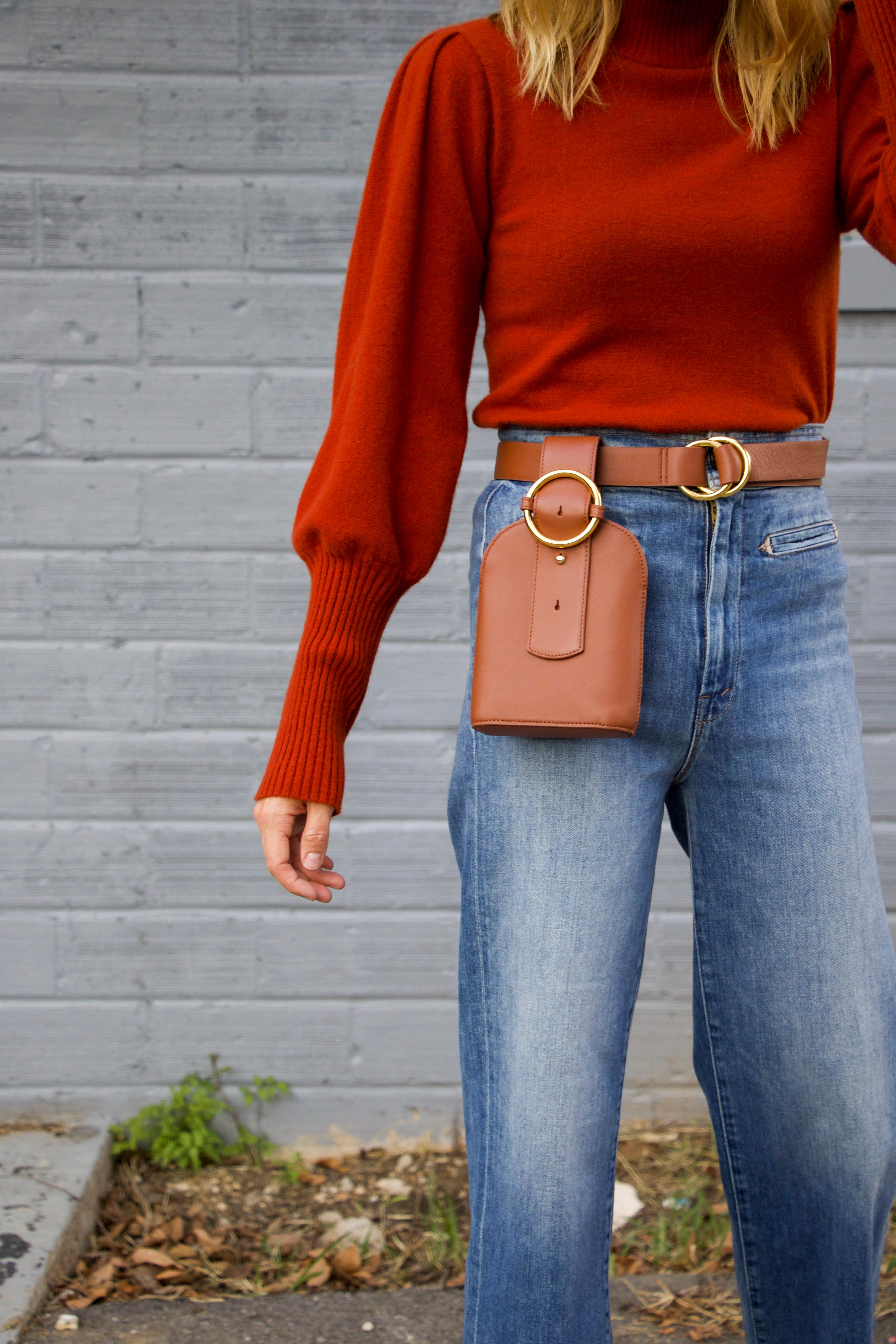 Rust colored sweater by Sea - Mother denim - White booties - Belt bag