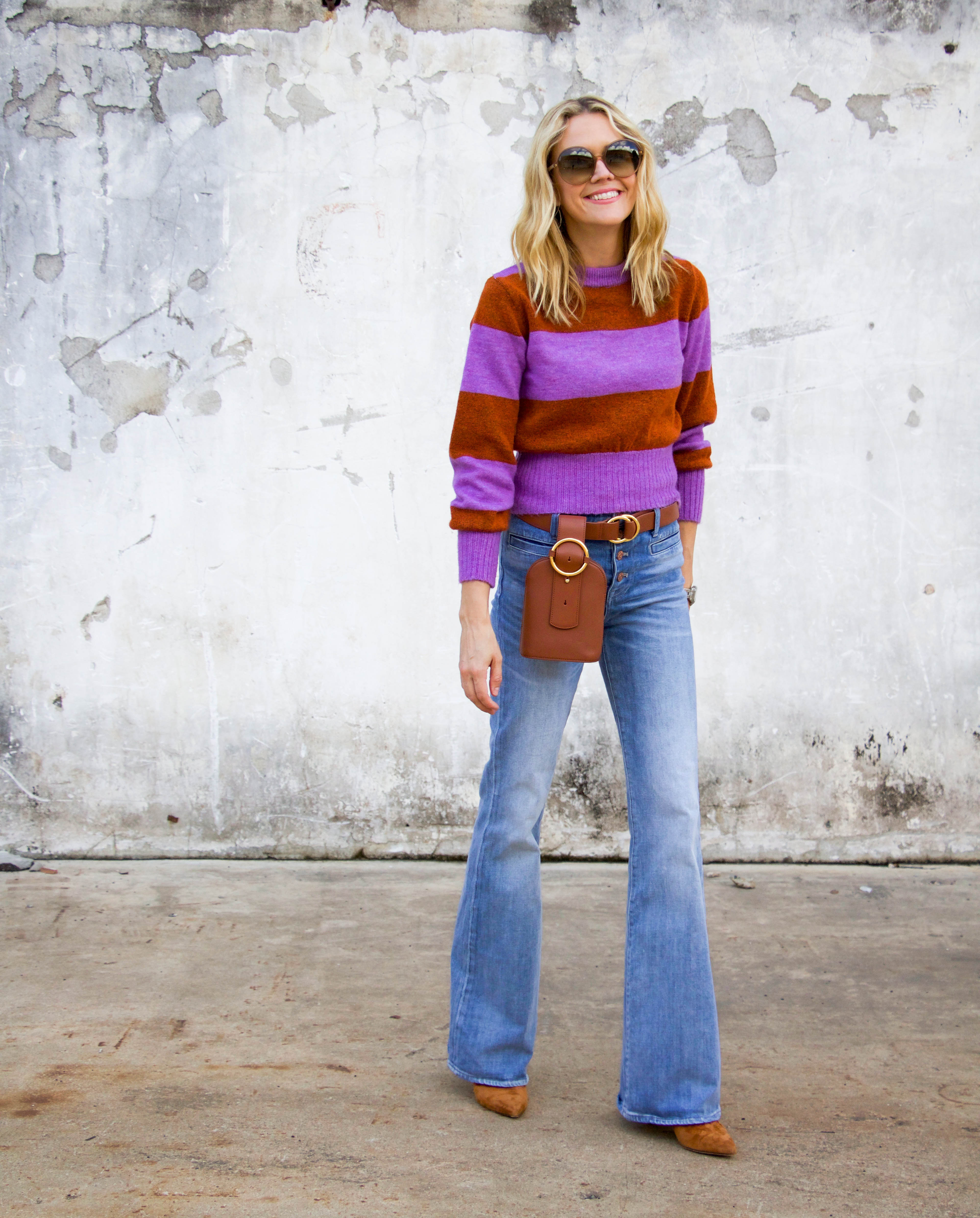 Topshop sweater, belt bag, flare denim, Veronica Beard mules