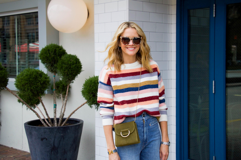 RAILS stripe sweater - flare denim - suede booties - crossbody bag - sunnies