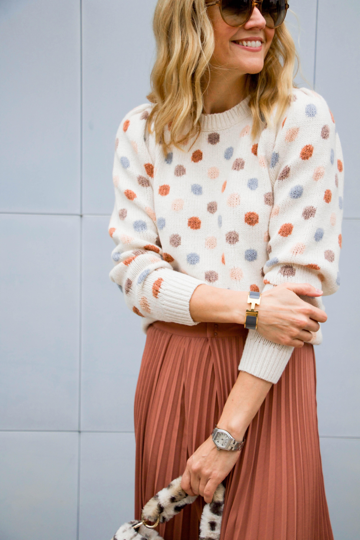 Rebecca Taylor polka dot sweater - Vince pleated skirt - Lewit heels - Topshop leopard fur bag - sunnies