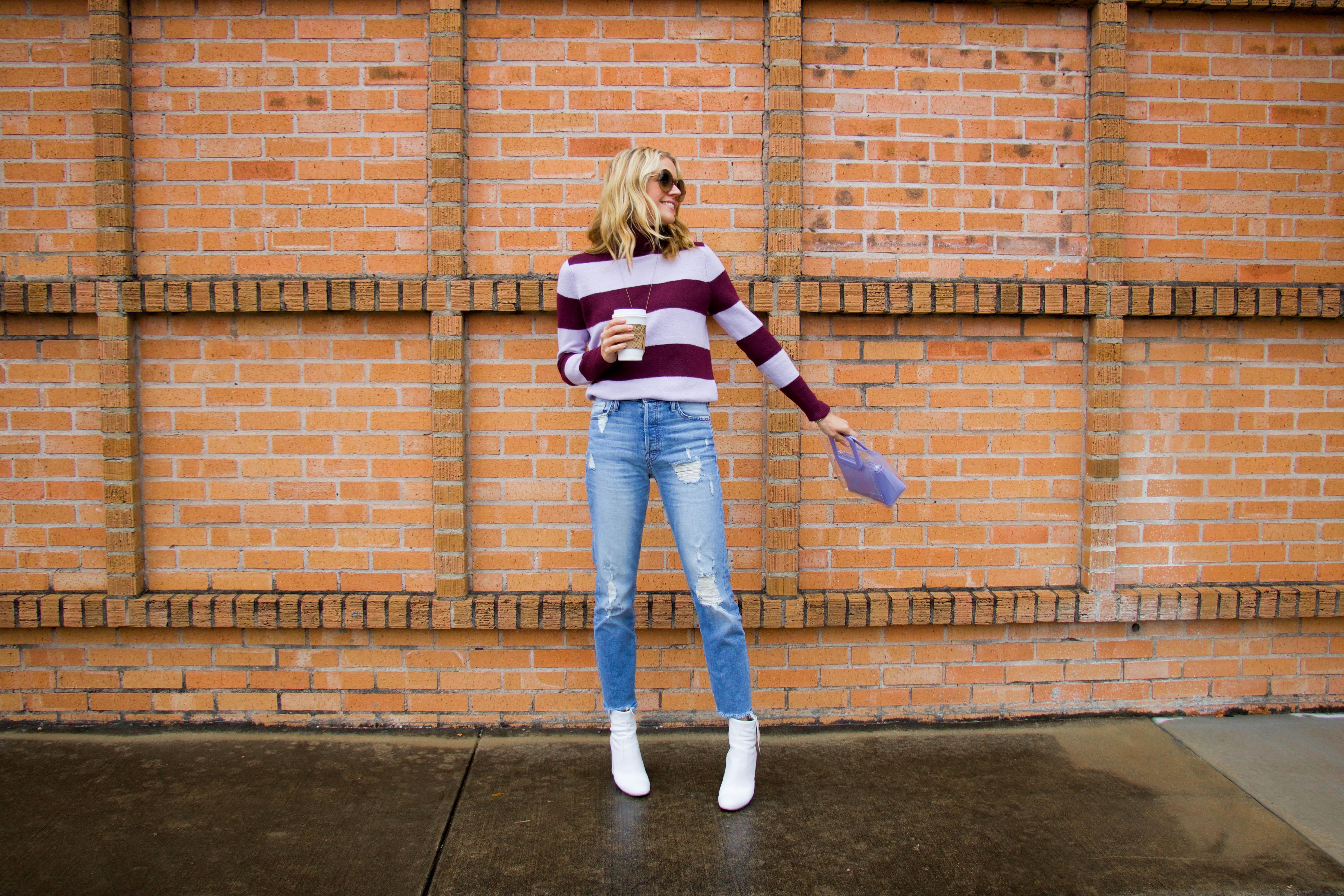 Halogen X Atlantic Pacific sweater - purple stripe turtleneck - Mother denim - white booties - purple Staud bag -