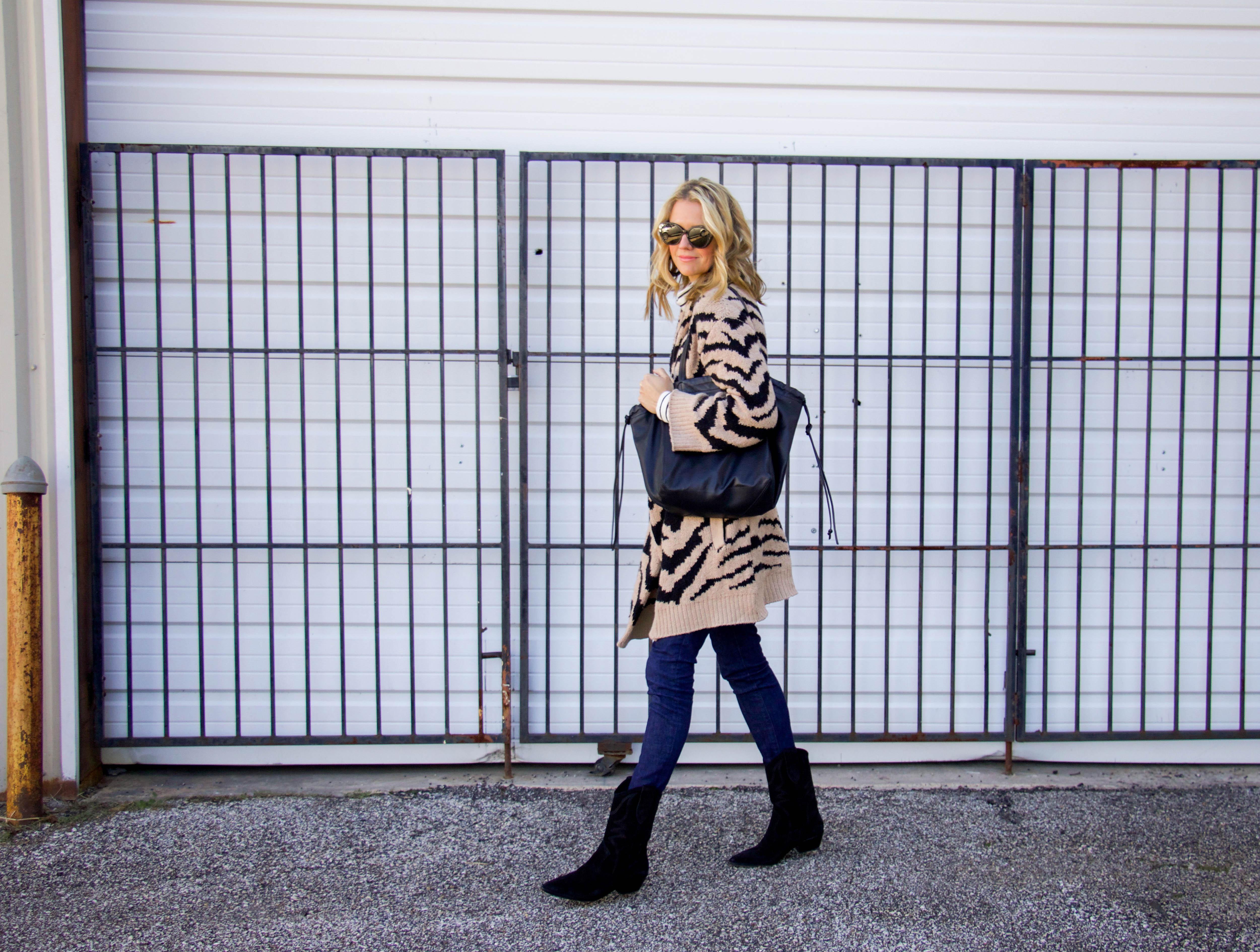 Cupcakes and Cashmere tiger cardigan - J brand denim - Rebecca minkoff booties - Striped turtleneck - tote bag