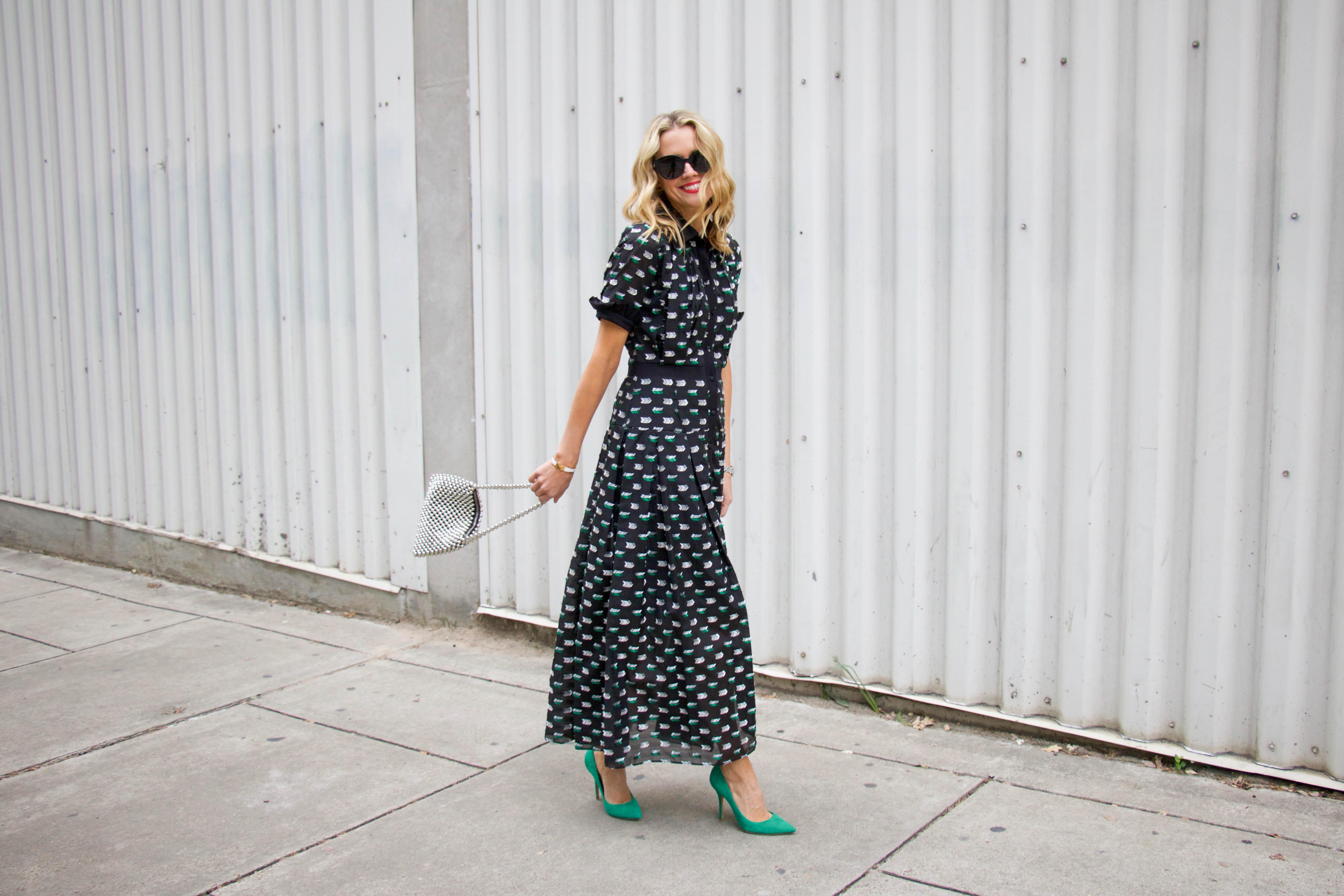 Hunter Bell NYC holiday party maxi dress - Topshop bag - Green pumps
