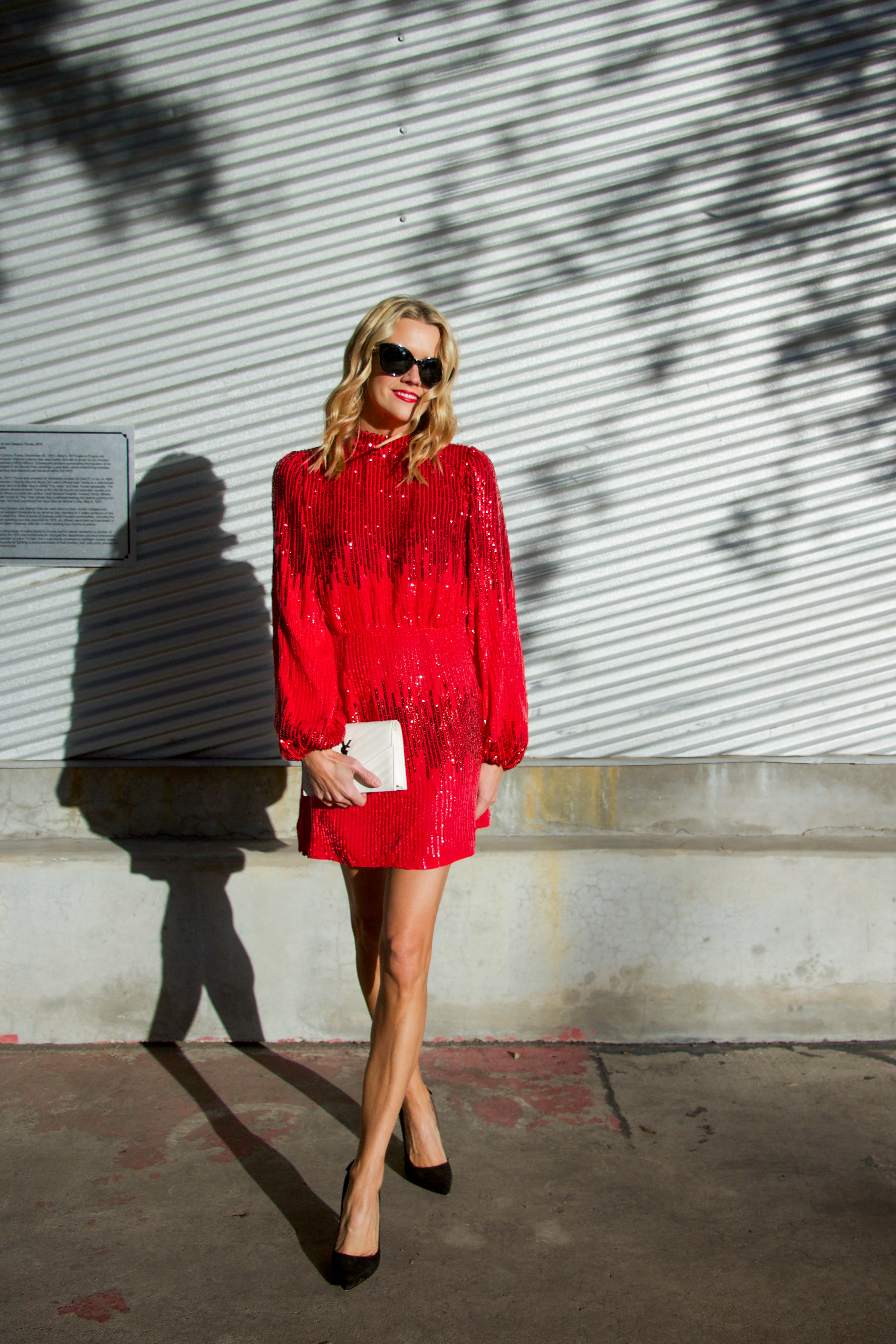 Rixo london red sparkly sequin dress - holiday style - party dress - christmas cocktail attire