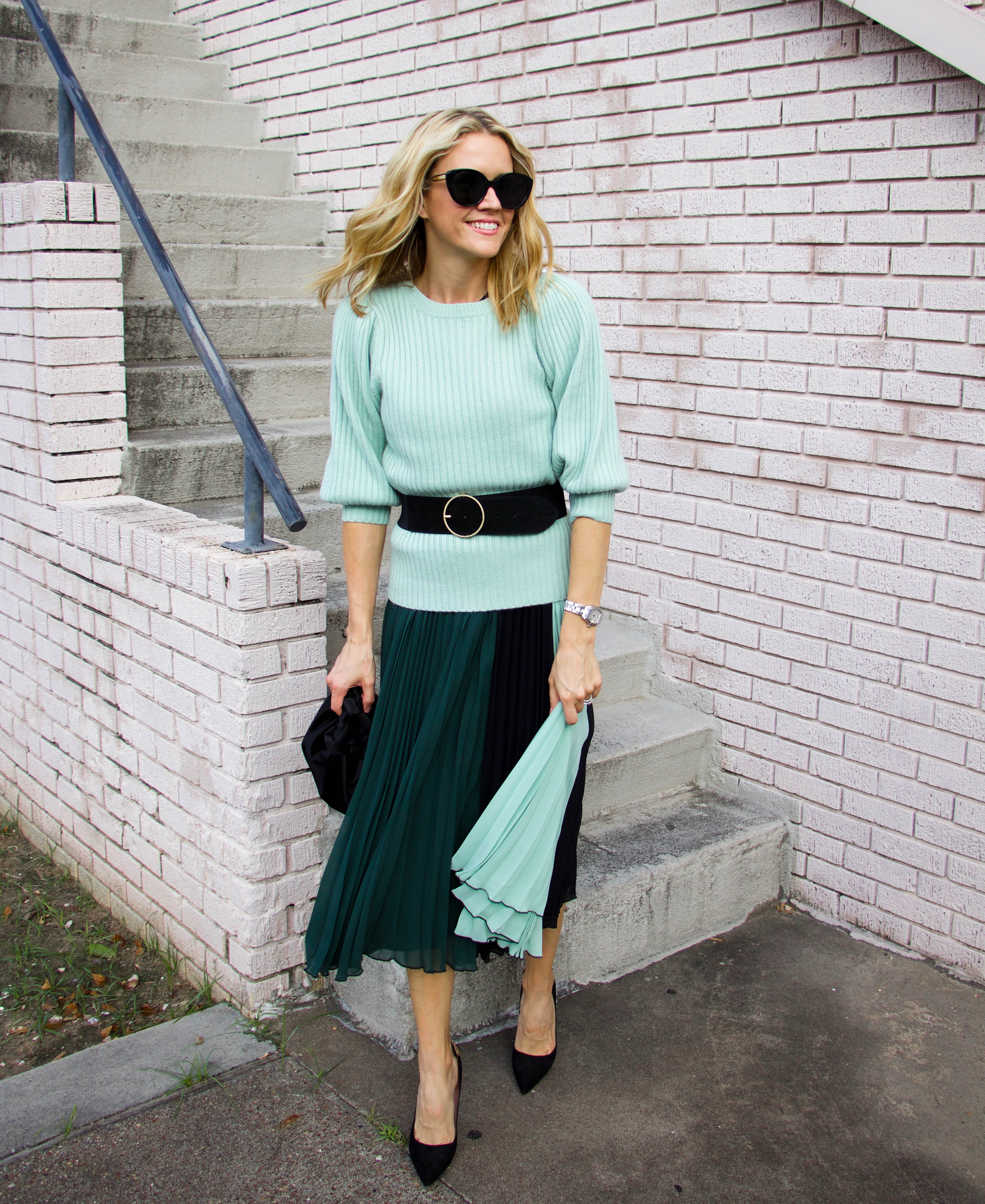 Mint green Atlantic Pacific sweater, dress, black pumps