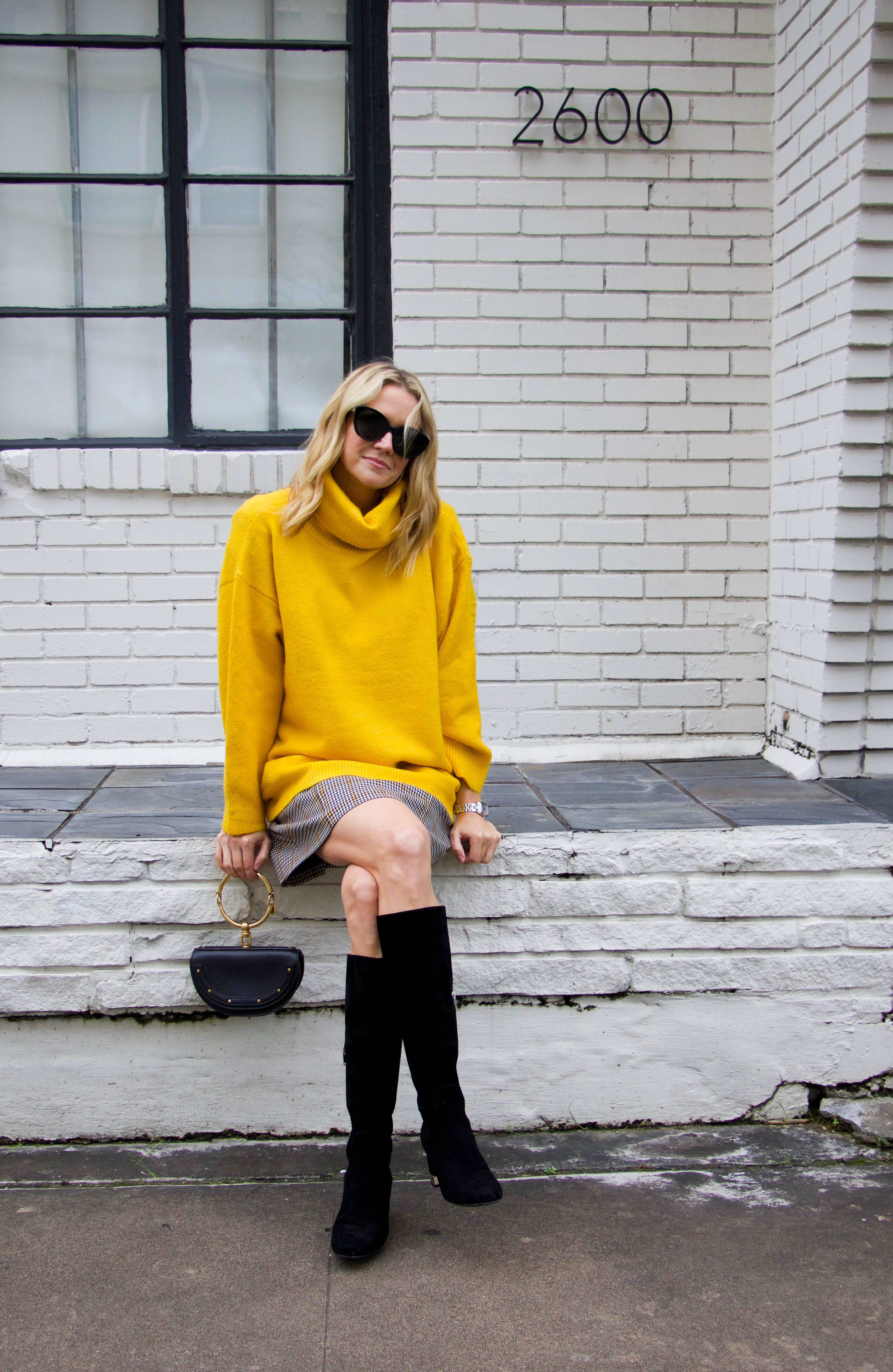 Amanda Uprichard plaid dress - black boots - chloe bag - Yellow Topshop turtleneck sweater - holiday style - day to night - festive dress