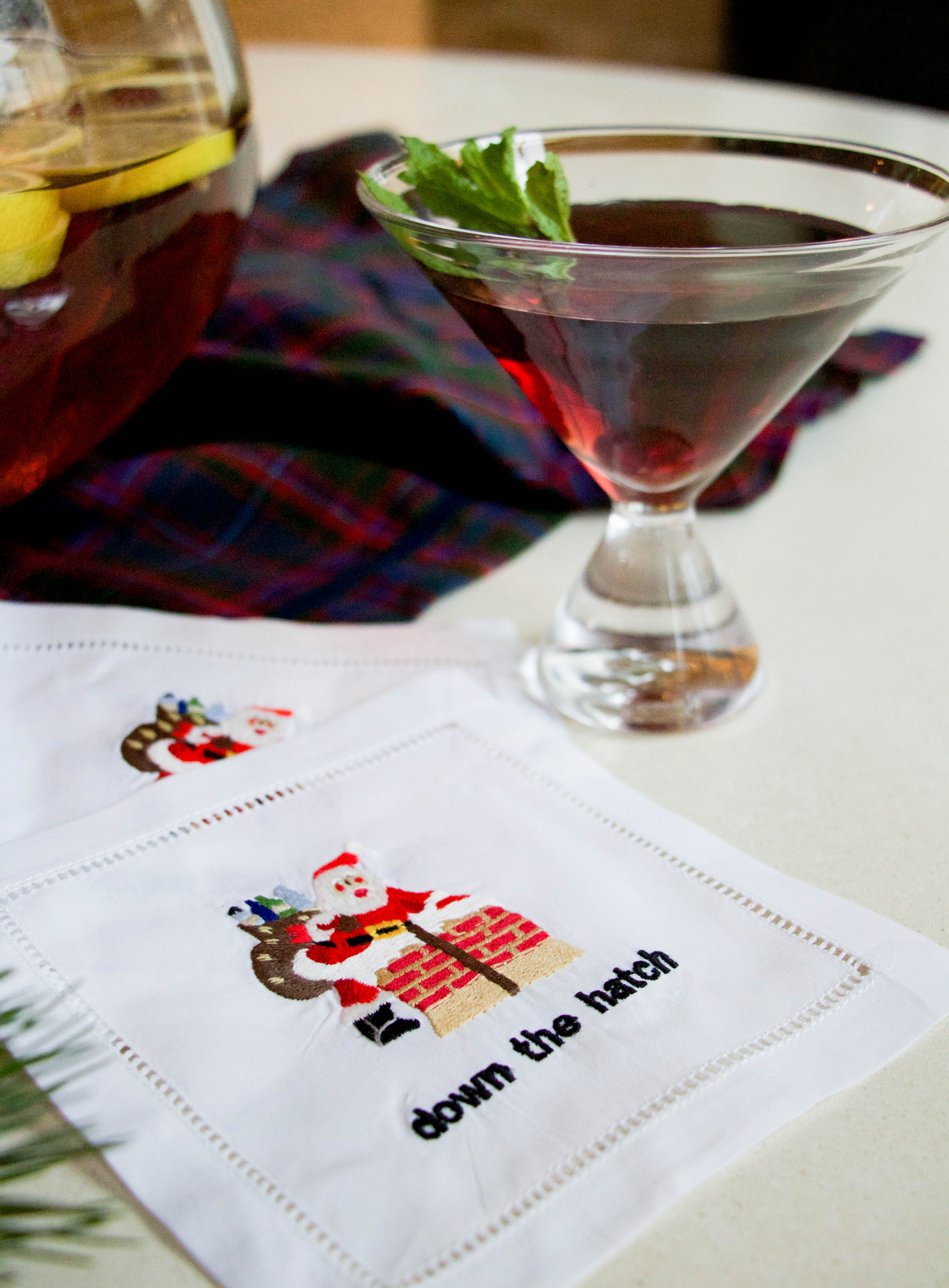 August Morgan santa down the hatch cocktail napkin