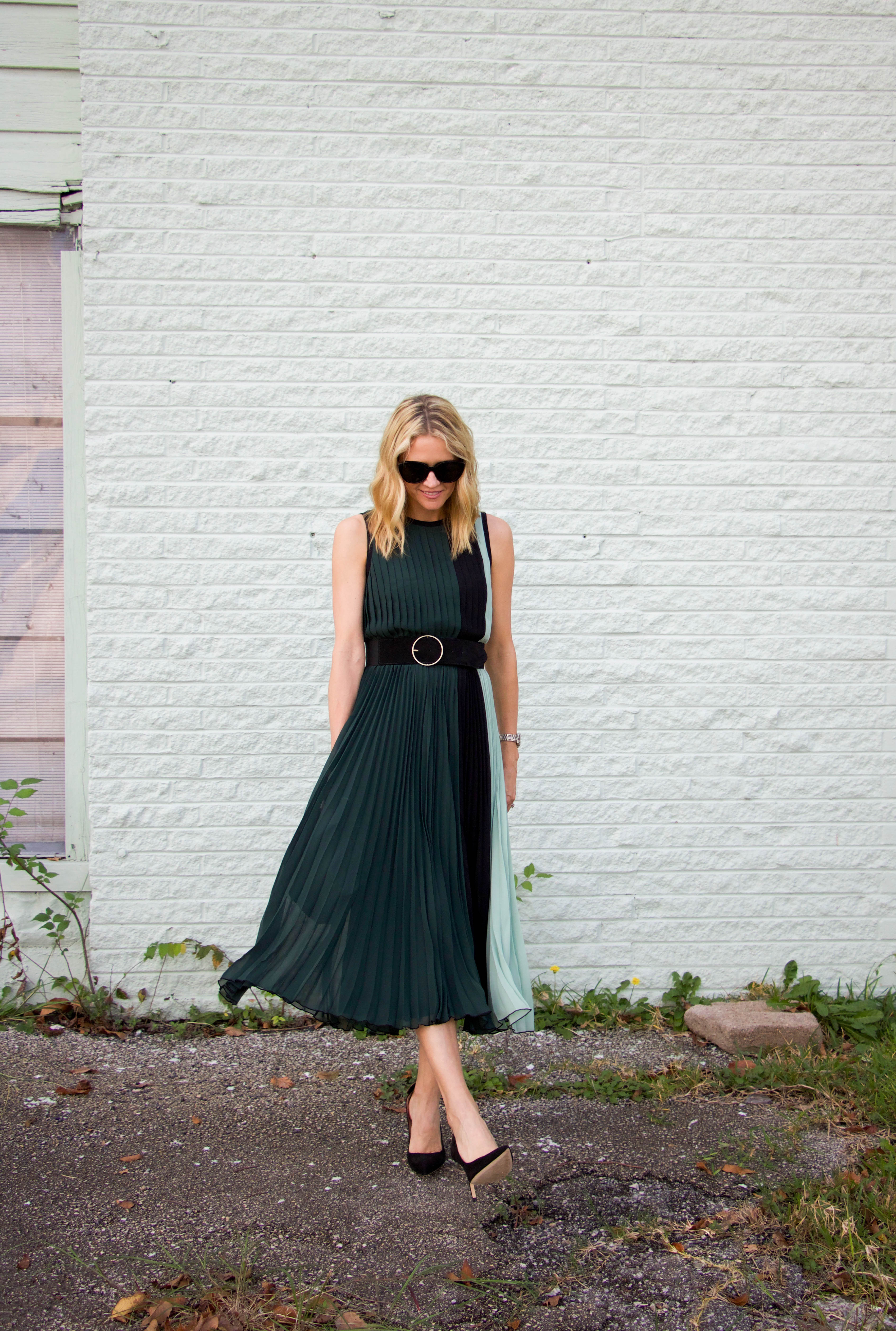 Atlantic Pacific green block dress - black pumps - silk bag - sunnies - holiday style - party dress - winter look