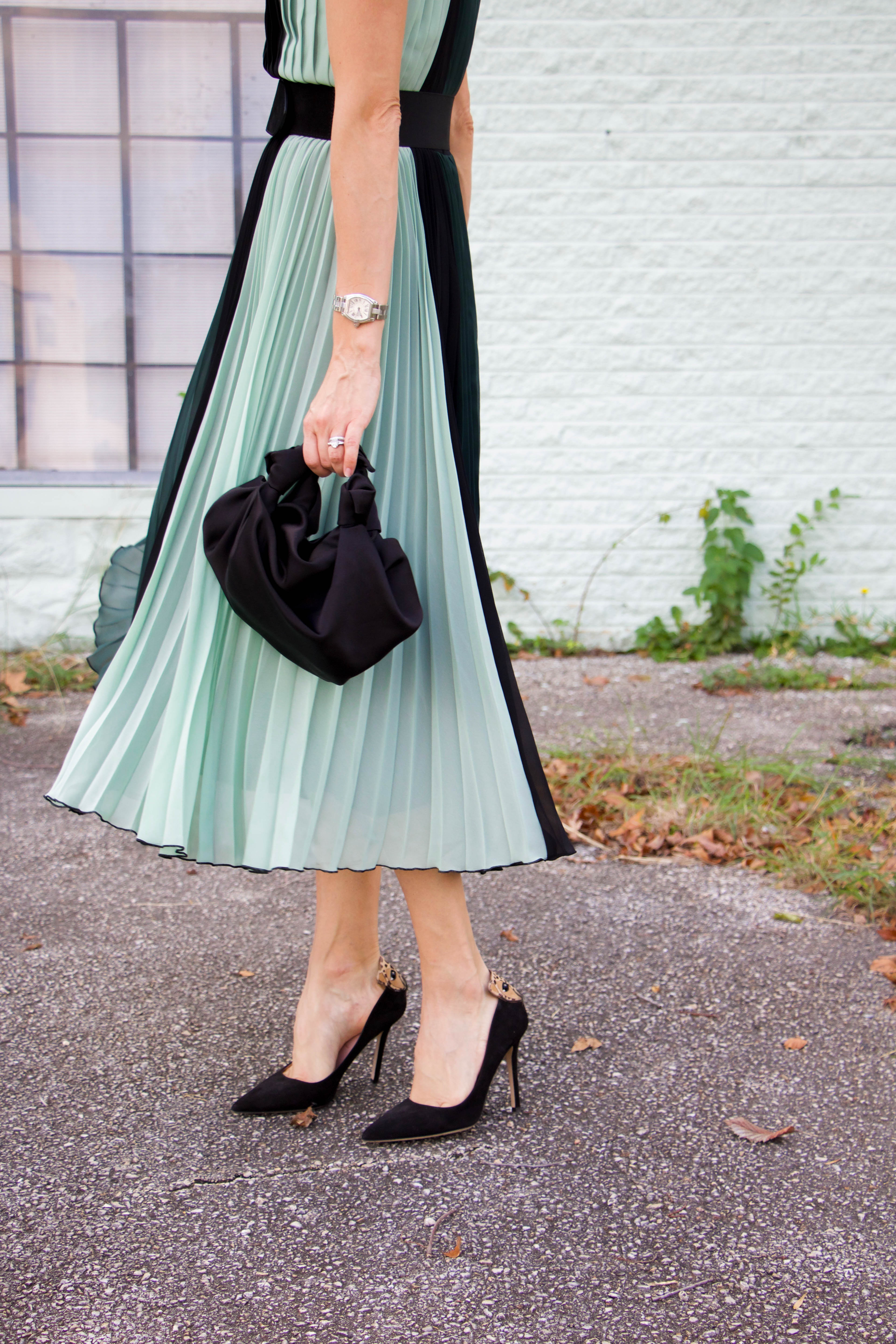 Atlantic Pacific green block dress - black pumps - silk bag - sunnies - holiday style - party dress - winter look