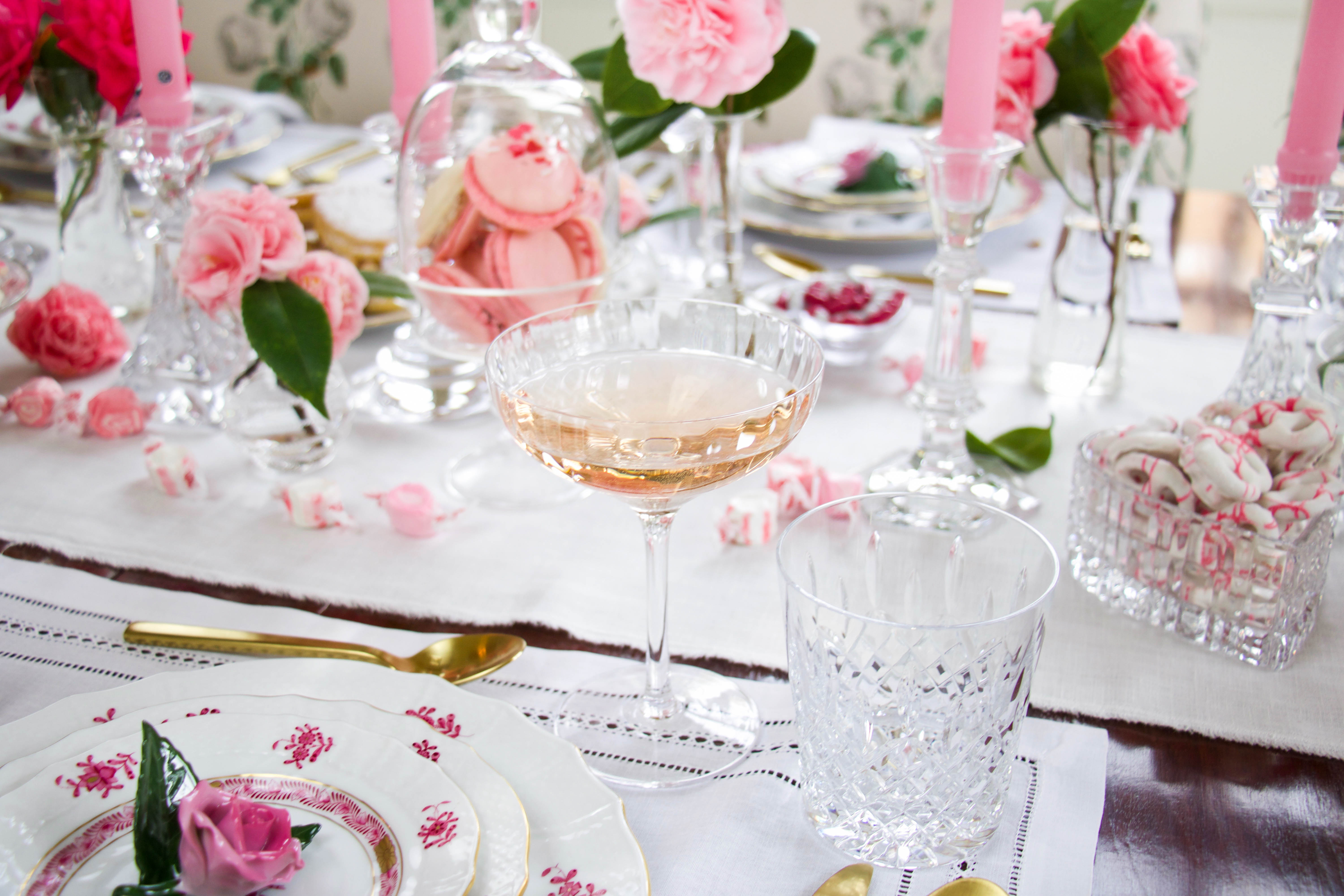 Valentines tablescape | galentines | pink | hearts | rose | mix n match | flowers | pink tapers | gold | china | champagne coupe